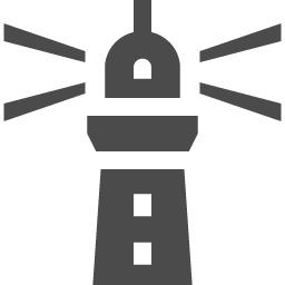 光る灯台のフリーアイコン